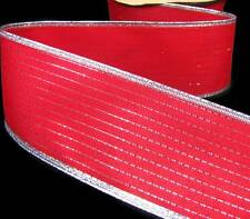 "5 Yd Christmas Red Metallic Silver Pinstripe Wired Ribbon 2 1/2""W"