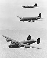 New 8x10 World War II Photo: B-17, B-24 War Planes in Echelon Formation, 1942