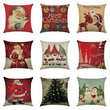 Christmas Pillow Case Santa Cotton Linen Throw Cushion Cover Sofa Car Home Decor