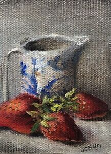 """ACEO Strawberries With Delft PitcherOriginal  Oil  Painting By J Joern 2.5""""x3.5"""""""