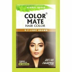 5 X COLOR MATE (Light Brown 9.7) Herbal based Hair Color - 15gm Each (75gm)