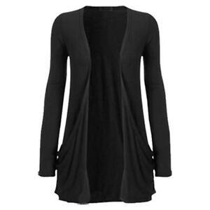 Womens Cardigan Ladies Long Sleeve Top Open Boyfriend 2 Pocket Hip Slouch 8-22