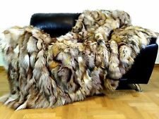 Luxury Crystal Real Fur Fox Throw Blanket