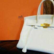 HERMES Birkin 35 Handbag Hand Tote Bag Gold White Used Vintage Rare