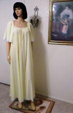 LUCIE ANN VTG Short Bell Sleeves Nylon nightgown LEMON YELLOW size M medium