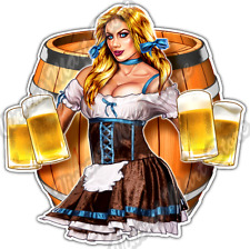 Beer Garden Maiden Pinup Girl Oktoberfest Car Bumper Vinyl Sticker Decal 4.6""