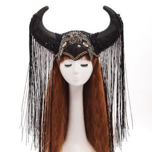 Steampunk Show Girl Headdress Ox Horn Hat Halloween Cosplay Headwear Funny Hat