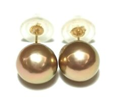 Gorgeous 14K Y Gold Purple Green Gold Round Edison 9.8mm Pearl Stud Earrings