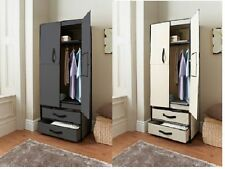 DELUXE DOUBLE CANVAS WARDROBE WITH OPENING DOORS DRAWER BLACK HIGH QUALITY