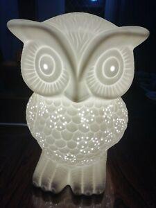 White Porcelain Owl Night Light /Table Lamp