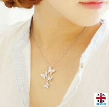 UK Elegant High Quality Silver Rhinestone Zircon Butterfly Chain Necklace