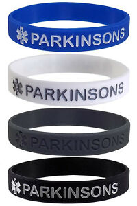 PARKINSONS Medical Alert ID Silicone Bracelets Wristbands Adult Size (4 Pack)