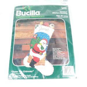 Bucilla Christmas Heirloom Jeweled Stocking Kit Santa Down the Chimney 82136