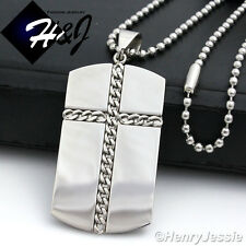 """30""""MEN Stainless Steel 2.5mm Silver Beads Chain Necklace Cross DogTag Pendant*85"""