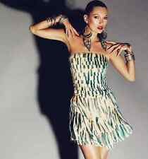 KATE MOSS TOPSHOP ZEBRA ANIMAL PRINT CORSET BANDEAU DRESS CORAL TEAL 8 36 4 ONCE