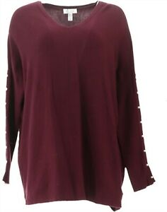 Denim & Co V-Neck Sweater Faux Pearl Button Slv Deep Burgundy L NEW A344045