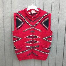 BANANA REPUBLIC Cowichan Cardigan Sweater Mens M Chimayo Native Designs Red