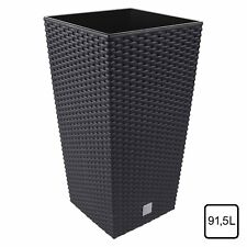 Large 91L Rattan Wicker Pattern Black/Anthracite Square Flowerpot with inner pot
