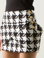 Falda Tweed Balmain Negro Houndstooth FR 36 Reino Unido 8