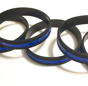 5 Pack Thin Blue Line Silicone Wristband Police Lives Matter Bracelet Law Lot