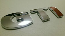 VW GTI RED I CHROME EFFECT BADGE FOR GOLF POLO GTD GTI R32 GT R R-LINE
