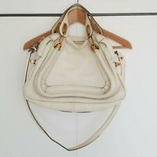 Auth Chloe Paraty Shoulder 2way Hand Bag Leather White from japan
