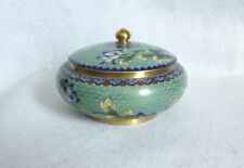 CLOISONNE ON COPPER TRINKET BOX ~ Lidded, Green with Floral, 5 Inches Wide
