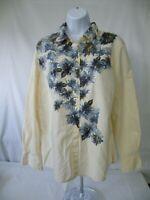 LIZ CLAIBORNE Lizwear Womens Long Sleeve Shirt Button Floral Cotton Top Large