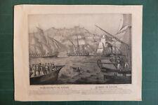 Bombardement de Tanger gravure Lordereau Maroc Morocco Tangier attaque navale
