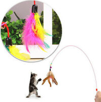 AUOH Kitten Cat Pet Toy Wire Chaser Wand Teaser Feather With Bell Beads Play Fun