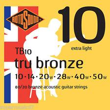 Rotosound TB10 tru bronze 80/20 guitare acoustique cordes extra light gauge 10-50