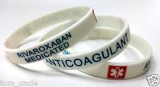 2x RIVAROXABAN medicated Medical Alert Wristband bracelet silicone anticoagulant