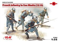 WW I FRENCH INFANTRY IN GAS MASKS W/WEAPONS & EQUIPMENT (1916) #35696 1/35 ICM