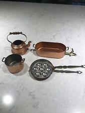 Dollhouse Miniature Vintage Lot Copper Like Finish Pans Pots