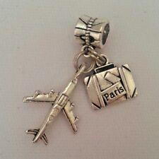 Travel World Airplane Passport Suitecase Charm Pendant f European Bracelet/ Neck