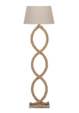 Large Antique Nautical Style Brown Cream Twisted Rope Floor Lamp 148cm