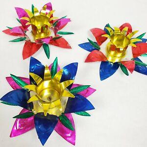 Vtg Kitsch Christmas Candle Holders (3) ~ Bright Silver Metal Flowers Folk Art