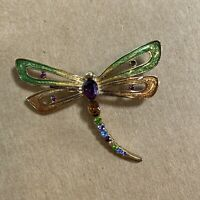 "Monet Signed Vintage Dragonfly Brooch Pin 2"" Colorful Rhinestones Enamel"