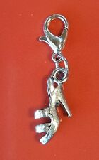 SILVER SHOE CLIP ON DANGLE CHARM for CHARM BRACELET PURSE HIGH HEEL SHOE CHARM