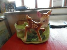 Vintage Bambi Deer ceramic planter with dripping snow