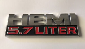 1x Hemi 5.7L LITER Mopar Dodge Self-Adhesive Plastic Badge Decal #Silver Chrome