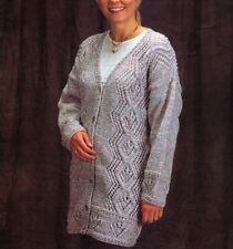 Knitting pattern LADY'S splendido ARAN Linea Lunga Cardigan / GIACCA (121)