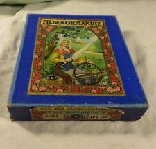 ANCIENNE BOITE *FIL de NORMANDIE*PLEINE avec 50 BOBINES de LIN BLANC de 80 à200.