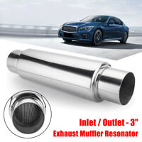 3'' Inlet Outlet 16'' Long Exhaust Turbo Muffler Resonator Stainless Steel AU /