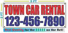 TOWN CAR RENTAL w CUSTOM PHONE Banner Sign NEW Size Best Quality for The $$