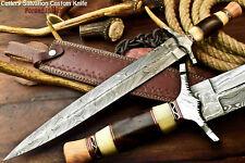 Custom Hand Made Damascus Steel Blade Double Edge Dagger Sword Knife|Walnut Wood
