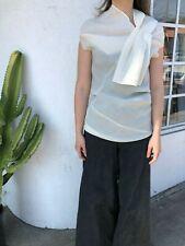 CELINE White Wool Organza Phoebe Philo Sleeveless Asymmetrical Tunic Top 38/6/4