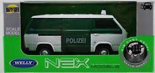 VW VOLKSWAGEN T3 VAN POLICE 1:34-1:39 WELLY METAL CAR NIB