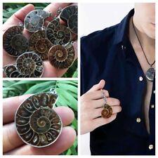 New Madagascar Sea Natural Druzy Ammonite Slice Shell Gemstone Pendant