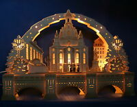 3D Schwibbogen excl.72cm Frauenkirche Dresden & Sockel Augustusbrücke Erzgebirge